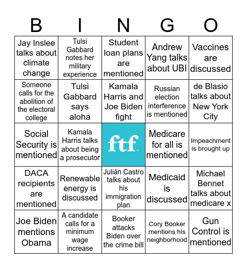 Democratic Debate Night 2 Bingo Card