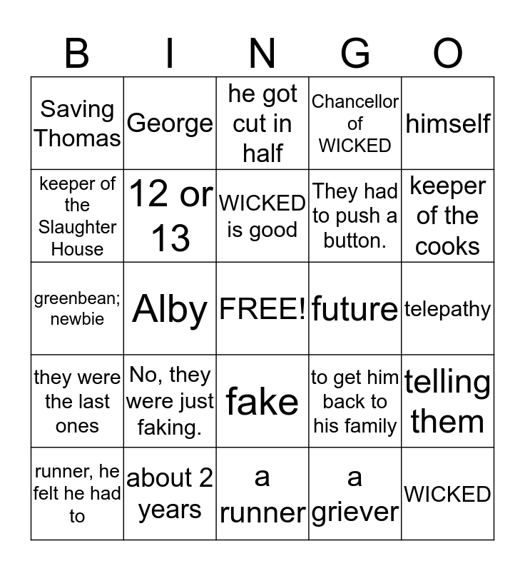 Bingo- The Maze Runner Addition Bingo Card