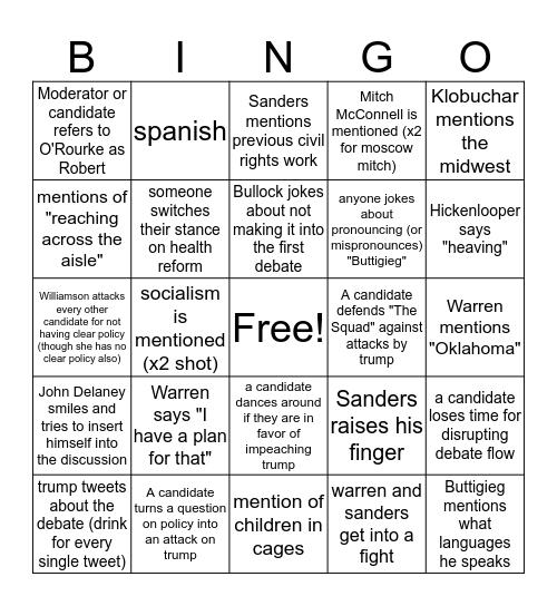 Demz Debates - Night 1 Bingo Card