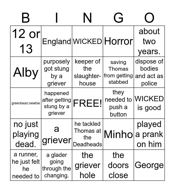 Bingo-The Maze Runner Addition Bingo Card