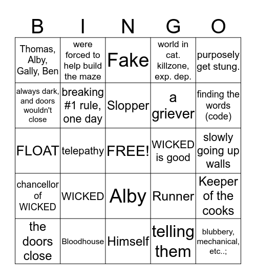 Bingo--The Maze Runner Addition Bingo Card