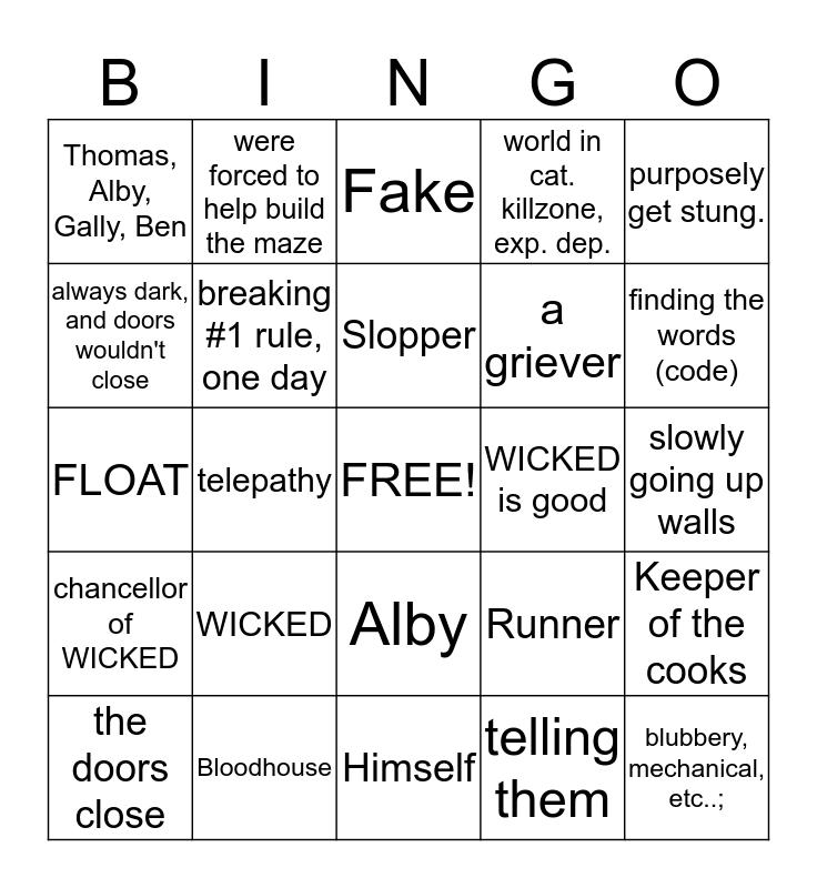 Bingo--The Maze Runner Addition Bingo Card