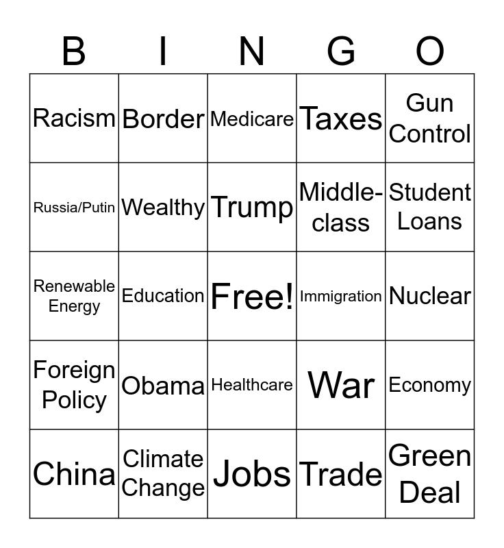 2nd Dem Debates 2019 Bingo Card