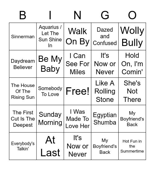 1960s Bingo Card