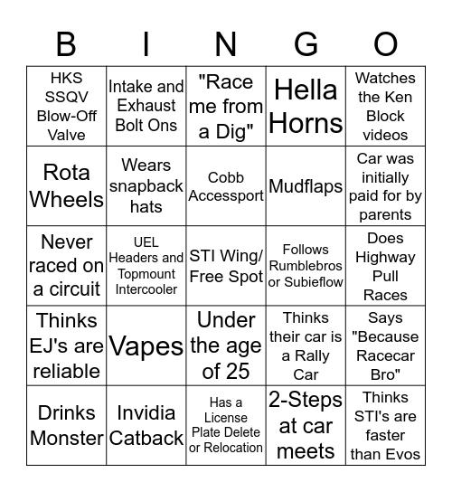 WRX/STI Owner Bingo Card