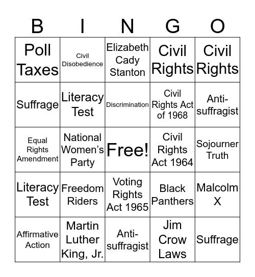 Unit #9: Civil Rights Bingo Card
