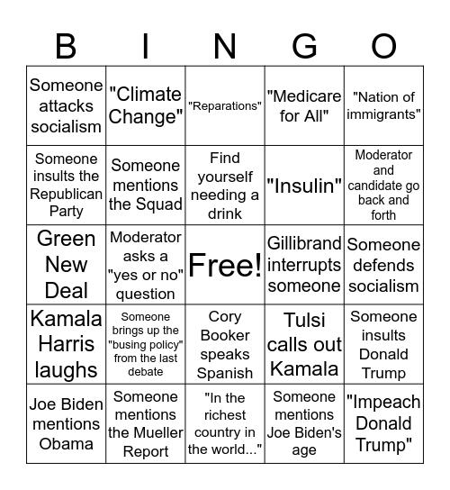 2020 Democratic Debate Bingo Card