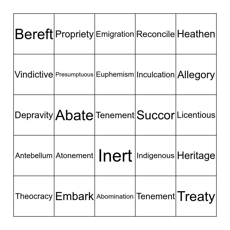 Week 2 Vocab Bingo Card