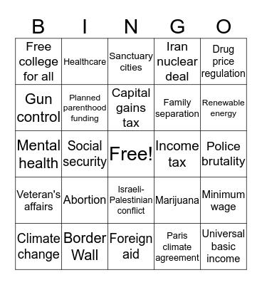 Democratic Debate Bingo Card