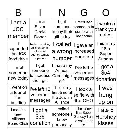 Super Sunday Bingo Card