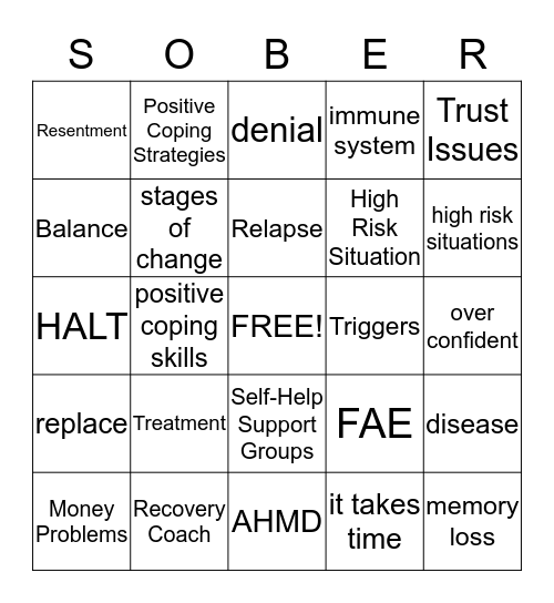 It's Your Recovery! Bingo Card