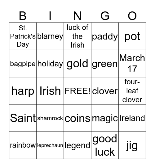 St. Patrick's Day Bingo Card