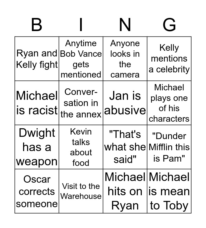 The Office Bingo Card