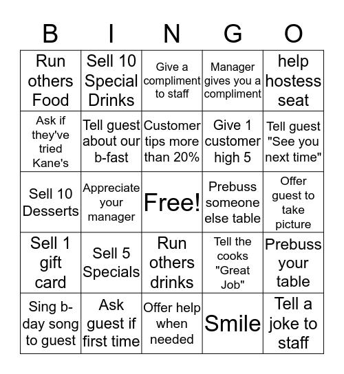 Server BINGO Card