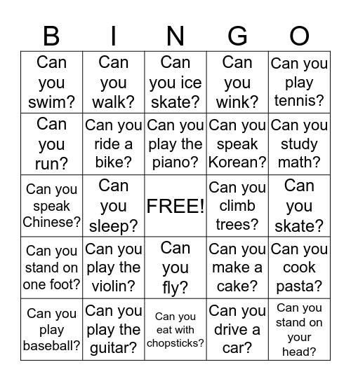 Can You... Bingo Card