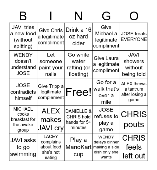 VACATION BINGO - Include Day/Time in Each Box Bingo Card