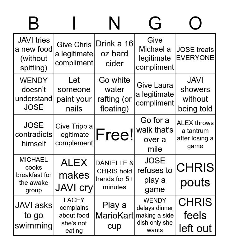 VACATION BINGO - Include Day/Time in Each Box Bingo Card