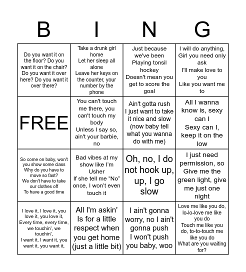 Consent Singo Bingo Card