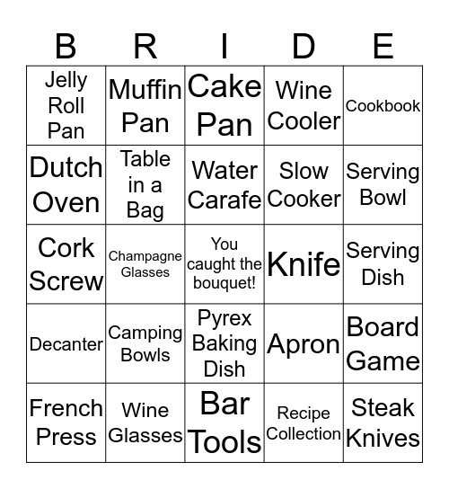 Britt's Bridal Shower Bingo  Bingo Card