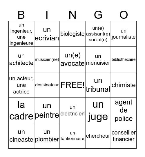 Une Profession Bingo Card