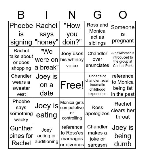 Friends binge-watch Bingo Card