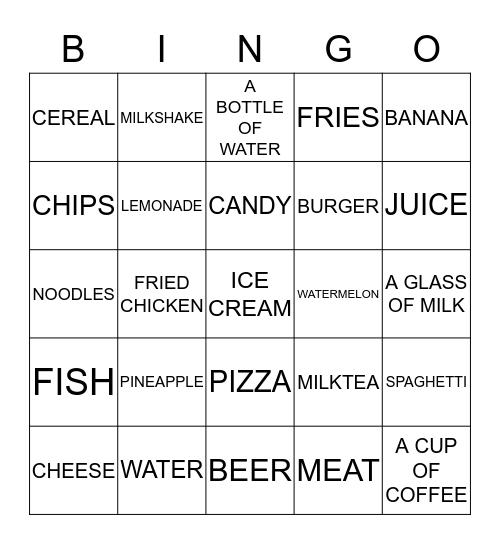 FOOD AND DRINKS Bingo Card