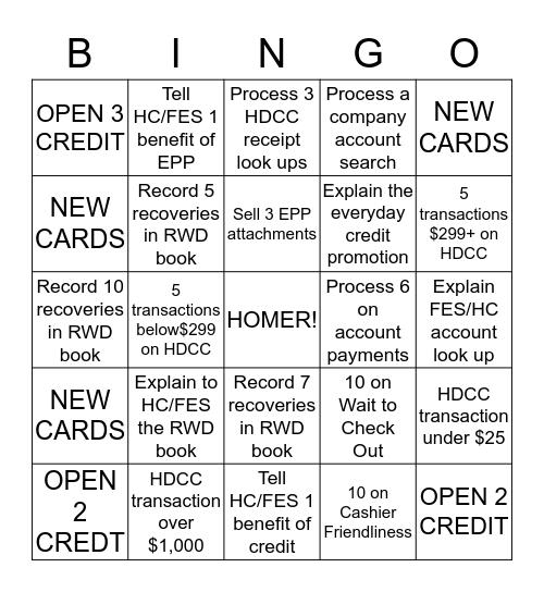 CREDIT CARD Bingo Card