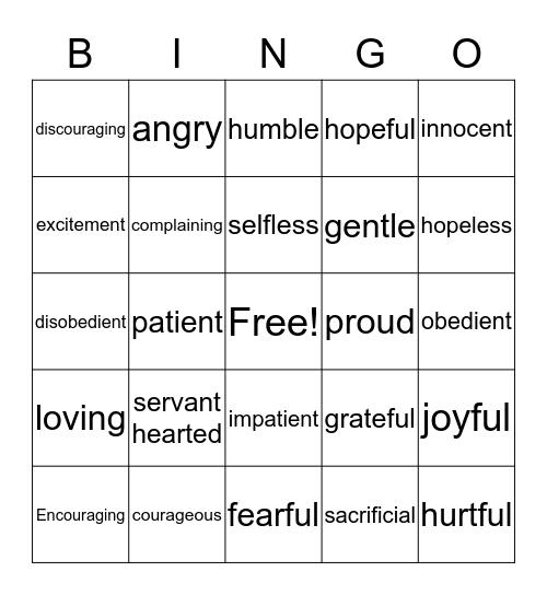 Act-Tide Bingo Card