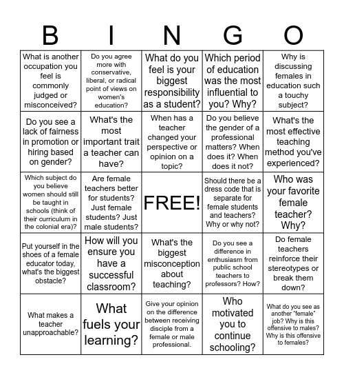 EPS 202 Women in Education Bingo Card