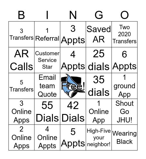 Tuesday Daily JHU Bingo Card