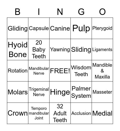 TMJ Bingo Card