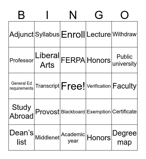MCC Lingo Bingo Card