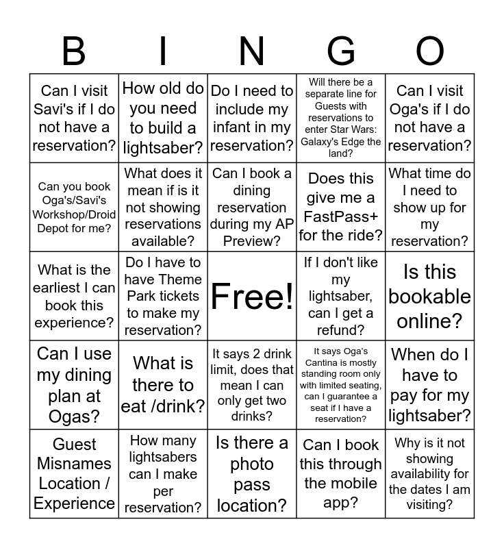 Did the Guest ask you about Star Wars: Galaxy's Edge?  Bingo Card