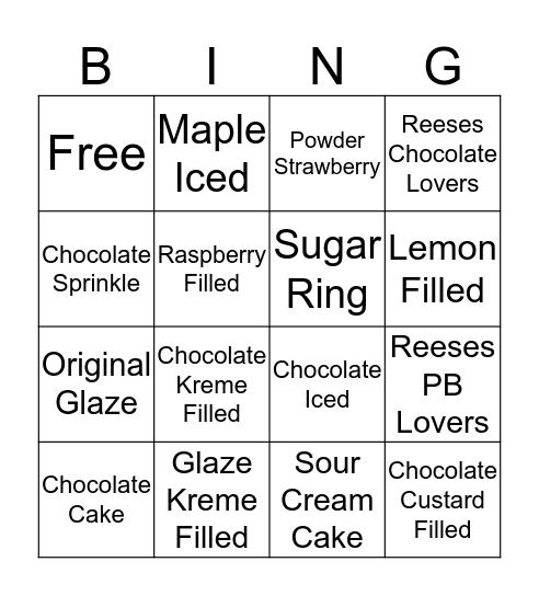 Krispy Kreme Family Night Bingo Card