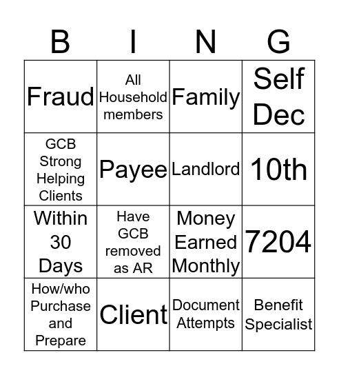 JFS Training  Bingo Card