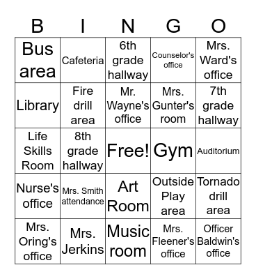 Rock Springs Middle School Bingo Card