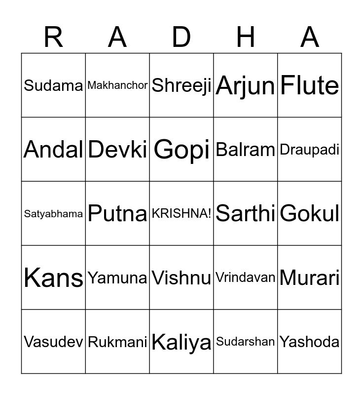 Radha Krishna Bingo Card