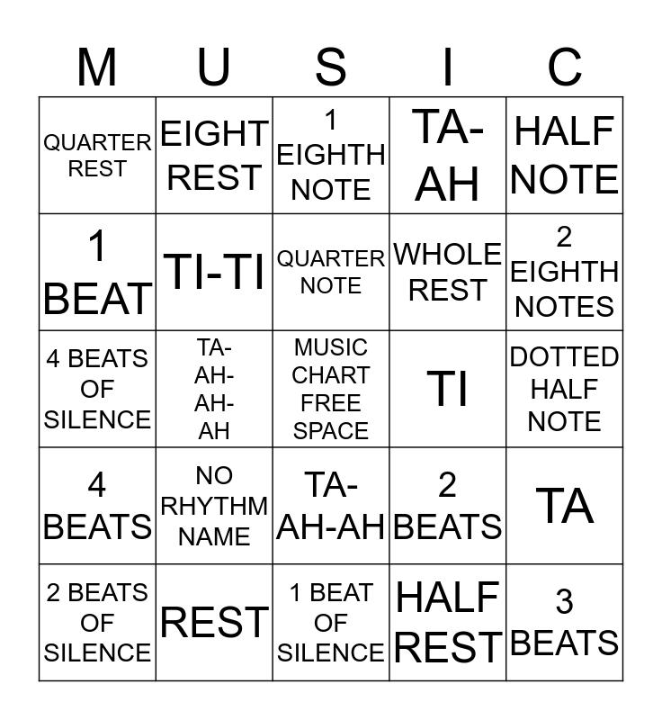 Music Chart Review Bingo Card