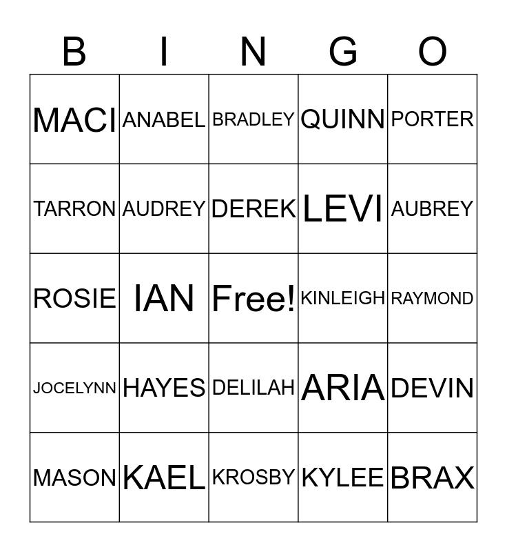 GROUP A! Bingo Card