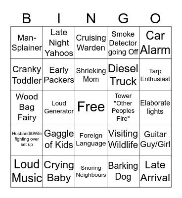 Camping Bingo Card