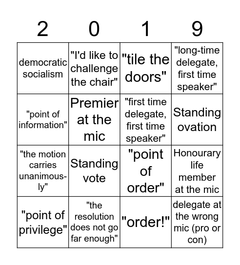BC NDP Convention Bingo Card