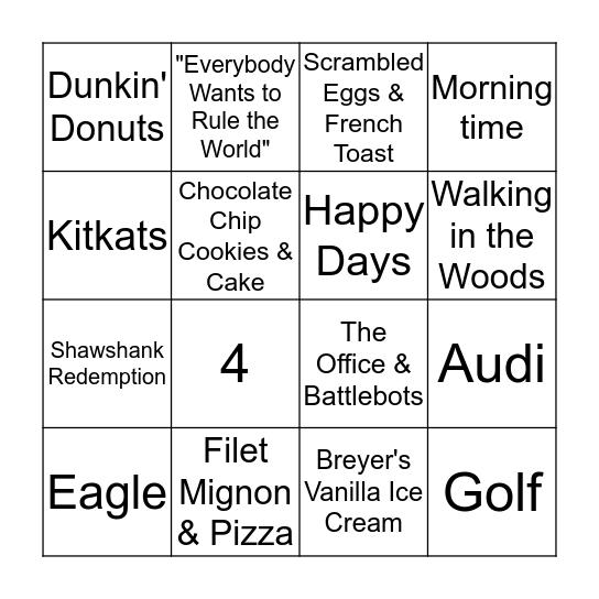 Brian's Favorites! Bingo Card