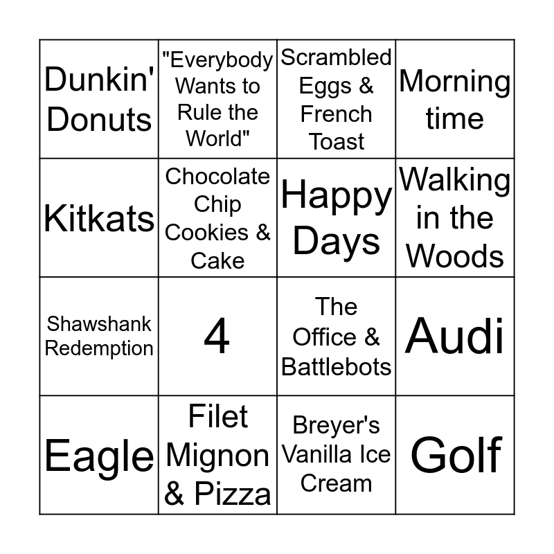 Brian's Favorites! Bingo Card
