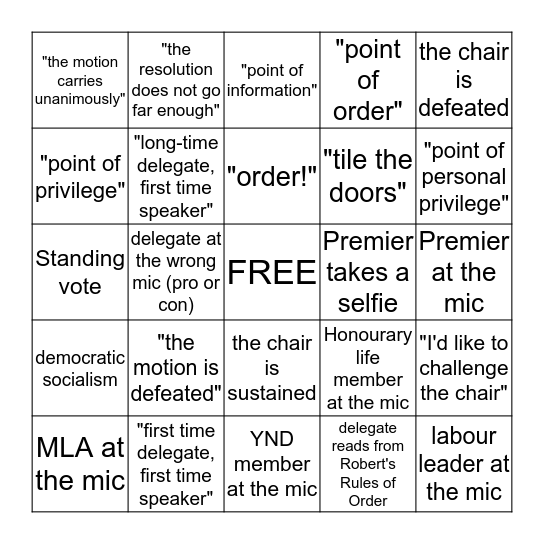 BC NDP Convention Bingo Card