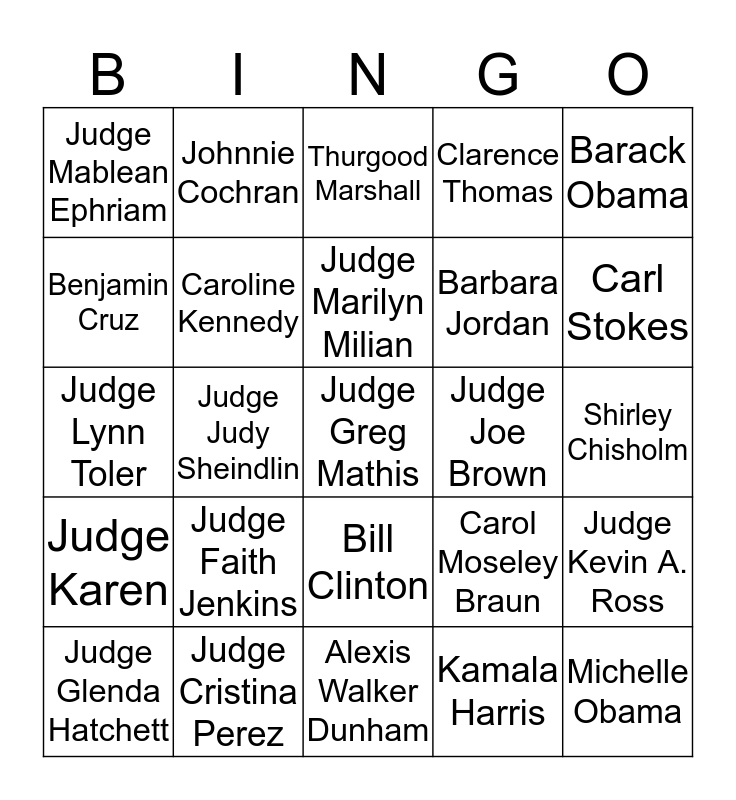 LEXI'S LAW & ORDER Bingo Card