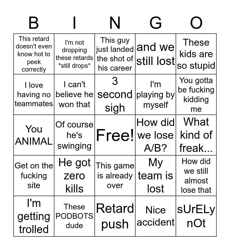 Hunter's Bingo Card