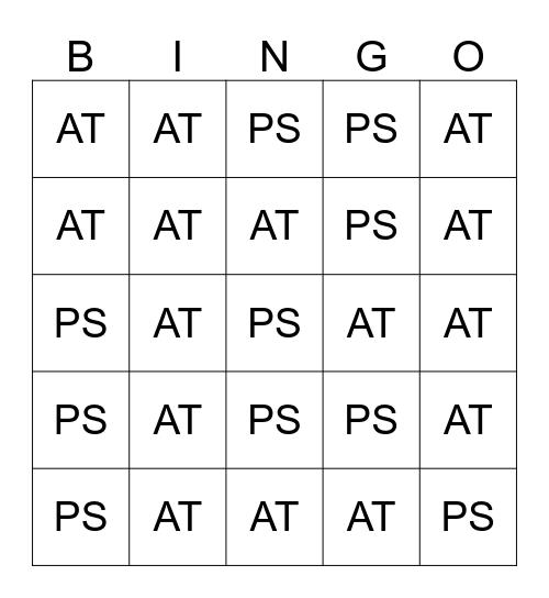 Active or Passive Bingo Card