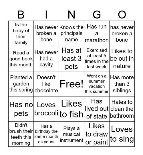 Central Elementary Bingo Card