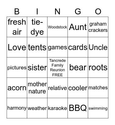 2019 Tancrede Family Reunion  Bingo Card