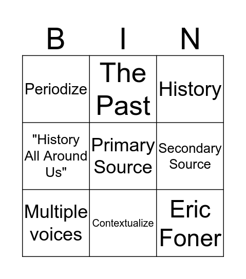 HIST 2000 Introduction Bingo Card